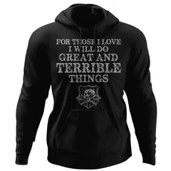 Viking, Norse, Gym t-shirt & apparel, Do Great And Terrible Things, FrontApparel[Heathen By Nature authentic Viking products]Unisex Pullover HoodieBlackS