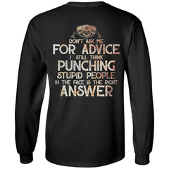 Viking, Norse, Gym t-shirt & apparel, Don't Ask Me For Advice, BackApparel[Heathen By Nature authentic Viking products]Long-Sleeve Ultra Cotton T-ShirtBlackS