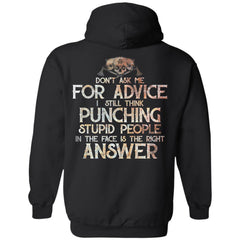 Viking, Norse, Gym t-shirt & apparel, Don't Ask Me For Advice, BackApparel[Heathen By Nature authentic Viking products]Unisex Pullover HoodieBlackS