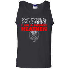 Viking, Norse, Gym t-shirt & apparel, Don't confuse me for a christian, FrontApparel[Heathen By Nature authentic Viking products]Cotton Tank TopBlackS