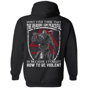 Viking, Norse, Gym t-shirt & apparel, Don't ever think that the reason I am peaceful, backApparel[Heathen By Nature authentic Viking products]Unisex Pullover HoodieBlackS