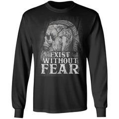 Viking, Norse, Gym t-shirt & apparel, Exist without fear, frontApparel[Heathen By Nature authentic Viking products]Long-Sleeve Ultra Cotton T-ShirtBlackS