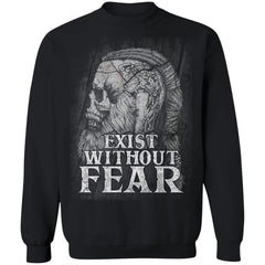Viking, Norse, Gym t-shirt & apparel, Exist without fear, frontApparel[Heathen By Nature authentic Viking products]Unisex Crewneck Pullover SweatshirtBlackS