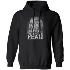 Viking, Norse, Gym t-shirt & apparel, Exist without fear, frontApparel[Heathen By Nature authentic Viking products]Unisex Pullover HoodieBlackS