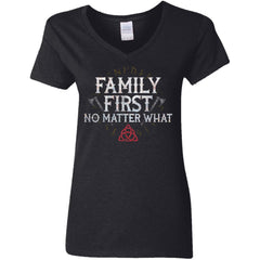 Viking, Norse, Gym t-shirt & apparel, Family, FrontApparel[Heathen By Nature authentic Viking products]Ladies' V-Neck T-ShirtBlackS