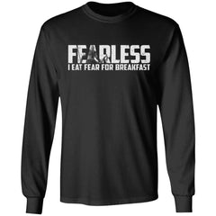 Viking, Norse, Gym t-shirt & apparel, Fearless I eat fear for breakfast, frontApparel[Heathen By Nature authentic Viking products]Long-Sleeve Ultra Cotton T-ShirtBlackS