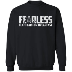 Viking, Norse, Gym t-shirt & apparel, Fearless I eat fear for breakfast, frontApparel[Heathen By Nature authentic Viking products]Unisex Crewneck Pullover SweatshirtBlackS
