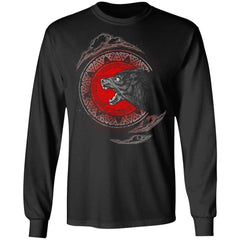 Viking, Norse, Gym t-shirt & apparel, Fenrir, FrontApparel[Heathen By Nature authentic Viking products]Long-Sleeve Ultra Cotton T-ShirtBlackS