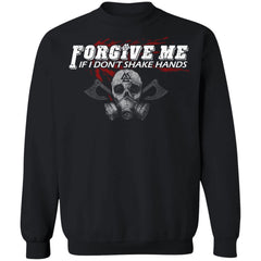 Viking, Norse, Gym t-shirt & apparel, Forgive me, FrontApparel[Heathen By Nature authentic Viking products]Unisex Crewneck Pullover SweatshirtBlackS
