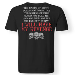 Viking, Norse, Gym t-shirt & apparel, Hands of death could not defeat me, backApparel[Heathen By Nature authentic Viking products]Premium Men T-ShirtBlackS