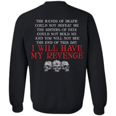 Viking, Norse, Gym t-shirt & apparel, Hands of death could not defeat me, backApparel[Heathen By Nature authentic Viking products]Unisex Crewneck Pullover SweatshirtBlackS
