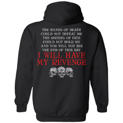 Viking, Norse, Gym t-shirt & apparel, Hands of death could not defeat me, backApparel[Heathen By Nature authentic Viking products]Unisex Pullover HoodieBlackS
