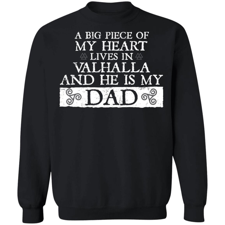 Viking, Norse, Gym t-shirt & apparel, He is my dad, FrontApparel[Heathen By Nature authentic Viking products]Unisex Crewneck Pullover SweatshirtBlackS