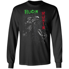 Viking, Norse, Gym t-shirt & apparel, Hugin Munin, frontApparel[Heathen By Nature authentic Viking products]Long-Sleeve Ultra Cotton T-ShirtBlackS