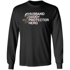 Viking, Norse, Gym t-shirt & apparel, Husband-Daddy-Protector-Hero, FrontApparel[Heathen By Nature authentic Viking products]Long-Sleeve Ultra Cotton T-ShirtBlackS