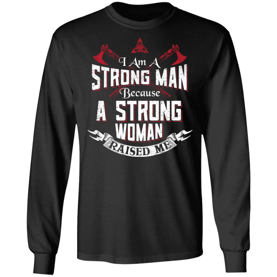 Viking, Norse, Gym t-shirt & apparel, I am a strong man, FrontApparel[Heathen By Nature authentic Viking products]Long-Sleeve Ultra Cotton T-ShirtBlackS