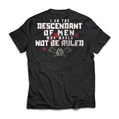 Viking, Norse, Gym t-shirt & apparel, I am the descendant, BackApparel[Heathen By Nature authentic Viking products]Next Level Premium Short Sleeve T-ShirtBlackX-Small
