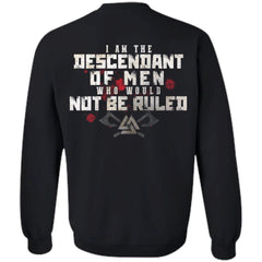 Viking, Norse, Gym t-shirt & apparel, I am the descendant, BackApparel[Heathen By Nature authentic Viking products]Unisex Crewneck Pullover SweatshirtBlackS