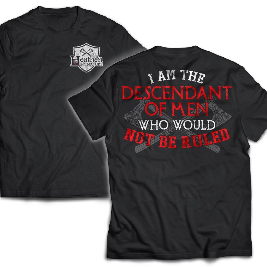 Viking, Norse, Gym t-shirt & apparel, I am the descendant , Double sidedApparel[Heathen By Nature authentic Viking products]Next Level Premium Short Sleeve T-ShirtBlackX-Small