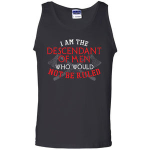 Viking, Norse, Gym t-shirt & apparel, I am the descendant of men, frontApparel[Heathen By Nature authentic Viking products]Cotton Tank TopBlackS