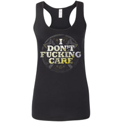 Viking, Norse, Gym t-shirt & apparel, I Don't Care, FrontApparel[Heathen By Nature authentic Viking products]Ladies' Softstyle Racerback TankBlackS