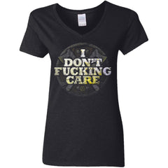 Viking, Norse, Gym t-shirt & apparel, I Don't Care, FrontApparel[Heathen By Nature authentic Viking products]Ladies' V-Neck T-ShirtBlackS