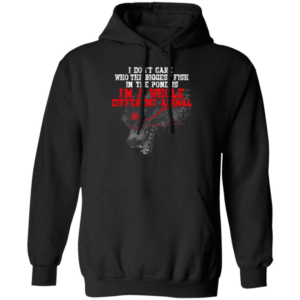 Viking, Norse, Gym t-shirt & apparel, I don't care who the biggest fish, frontApparel[Heathen By Nature authentic Viking products]Unisex Pullover HoodieBlackS