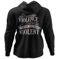 Viking, Norse, Gym t-shirt & apparel, I don't like violence, BackApparel[Heathen By Nature authentic Viking products]Unisex Pullover HoodieBlackS