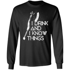 Viking, Norse, Gym t-shirt & apparel, I Drink And I Know, FrontApparel[Heathen By Nature authentic Viking products]Long-Sleeve Ultra Cotton T-ShirtBlackS