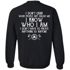Viking, Norse, Gym t-shirt & apparel, I know who I am, BackApparel[Heathen By Nature authentic Viking products]Unisex Crewneck Pullover SweatshirtBlackS