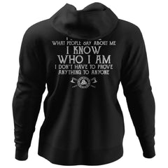 Viking, Norse, Gym t-shirt & apparel, I know who I am, BackApparel[Heathen By Nature authentic Viking products]Unisex Pullover HoodieBlackS