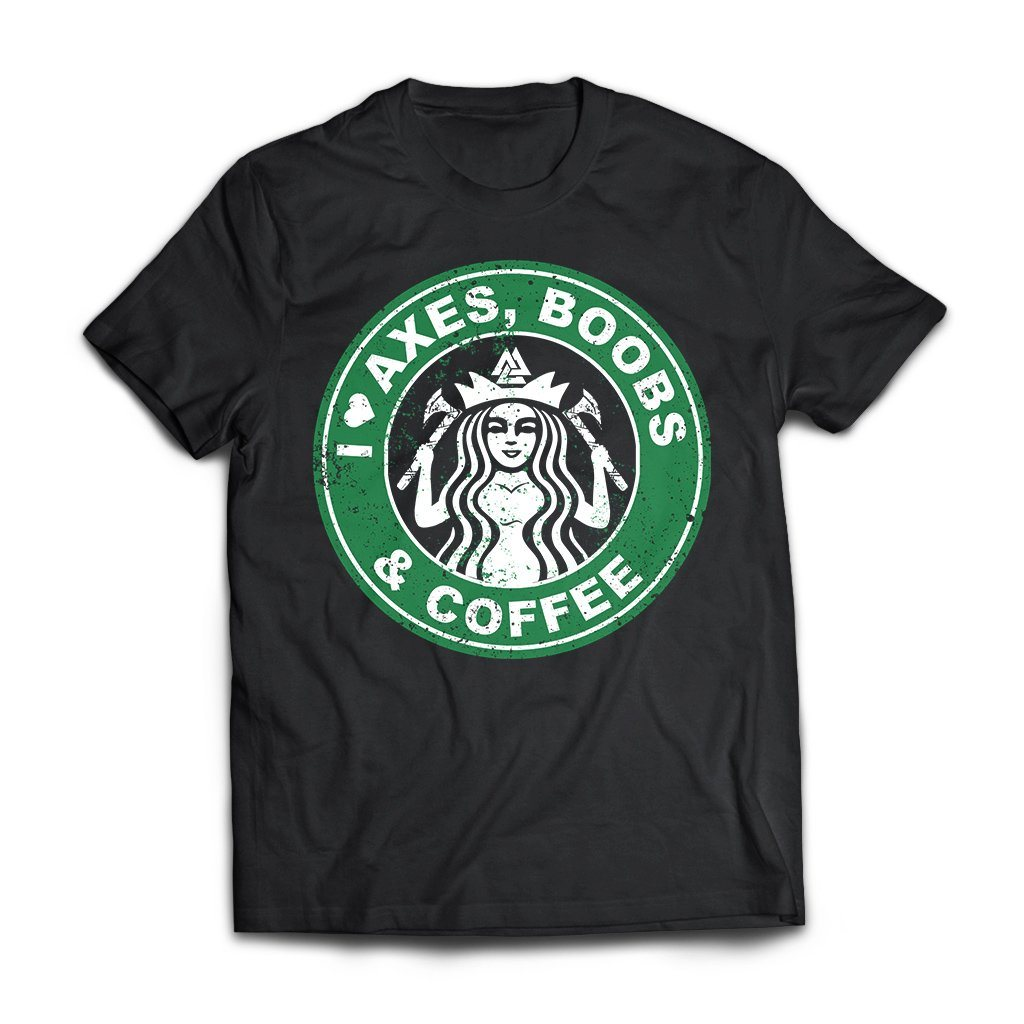 Viking, Norse, Gym t-shirt & apparel, I love axes boobs and coffee, frontApparel[Heathen By Nature authentic Viking products]Next Level Premium Short Sleeve T-ShirtBlackX-Small