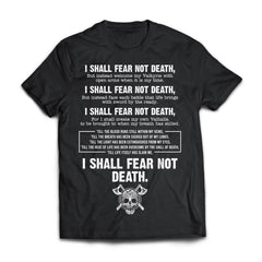 Viking, Norse, Gym t-shirt & apparel, I Shall Fear Not Death, FrontApparel[Heathen By Nature authentic Viking products]Next Level Premium Short Sleeve T-ShirtBlackX-Small