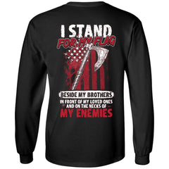 Viking, Norse, Gym t-shirt & apparel, I stand for my flag, BackApparel[Heathen By Nature authentic Viking products]Long-Sleeve Ultra Cotton T-ShirtBlackS