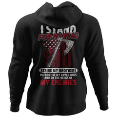 Viking, Norse, Gym t-shirt & apparel, I stand for my flag, BackApparel[Heathen By Nature authentic Viking products]Unisex Pullover HoodieBlackS