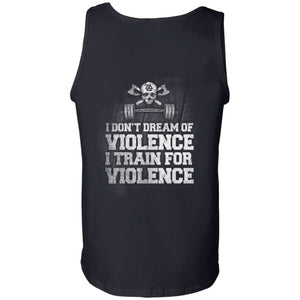 Viking, Norse, Gym t-shirt & apparel, I Train For Violence, BackApparel[Heathen By Nature authentic Viking products]Cotton Tank TopBlackS