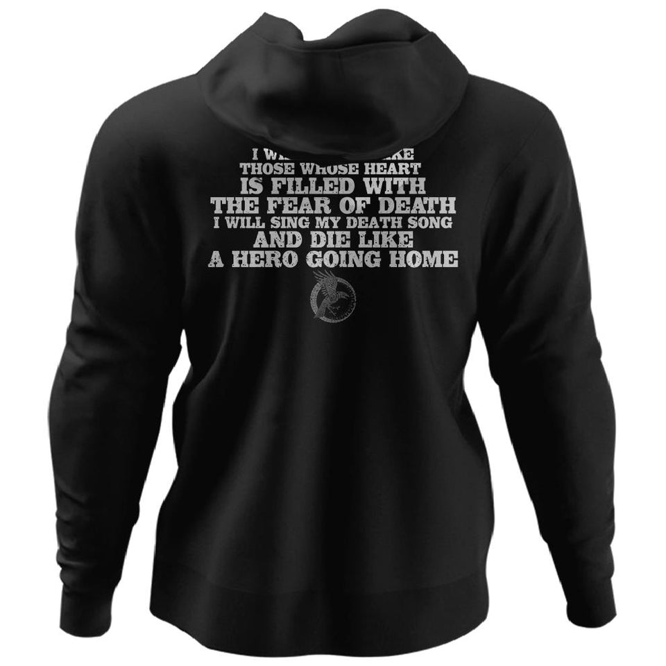 Viking, Norse, Gym t-shirt & apparel, I will sing my death song, BackApparel[Heathen By Nature authentic Viking products]Unisex Pullover HoodieBlackS