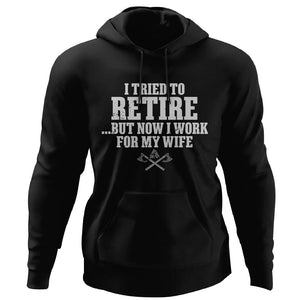Viking, Norse, Gym t-shirt & apparel, I work for my wife, FrontApparel[Heathen By Nature authentic Viking products]Unisex Pullover HoodieBlackS