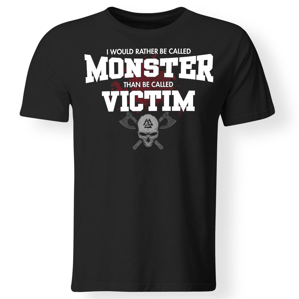 Viking, Norse, Gym t-shirt & apparel, I would rather be called monster, FrontApparel[Heathen By Nature authentic Viking products]Gildan Premium Men T-ShirtBlack5XL