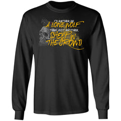 Viking, Norse, Gym t-shirt & apparel, I'd rather be a lone wolf, frontApparel[Heathen By Nature authentic Viking products]Long-Sleeve Ultra Cotton T-ShirtBlackS