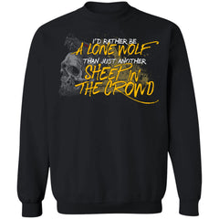Viking, Norse, Gym t-shirt & apparel, I'd rather be a lone wolf, frontApparel[Heathen By Nature authentic Viking products]Unisex Crewneck Pullover SweatshirtBlackS