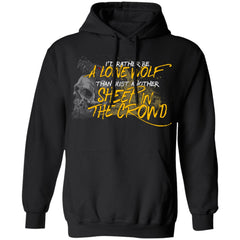 Viking, Norse, Gym t-shirt & apparel, I'd rather be a lone wolf, frontApparel[Heathen By Nature authentic Viking products]Unisex Pullover HoodieBlackS