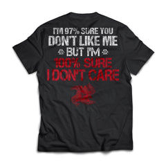 Viking, Norse, Gym t-shirt & apparel, I'm 97% sure you don't like me, BackApparel[Heathen By Nature authentic Viking products]Next Level Premium Short Sleeve T-ShirtBlackX-Small