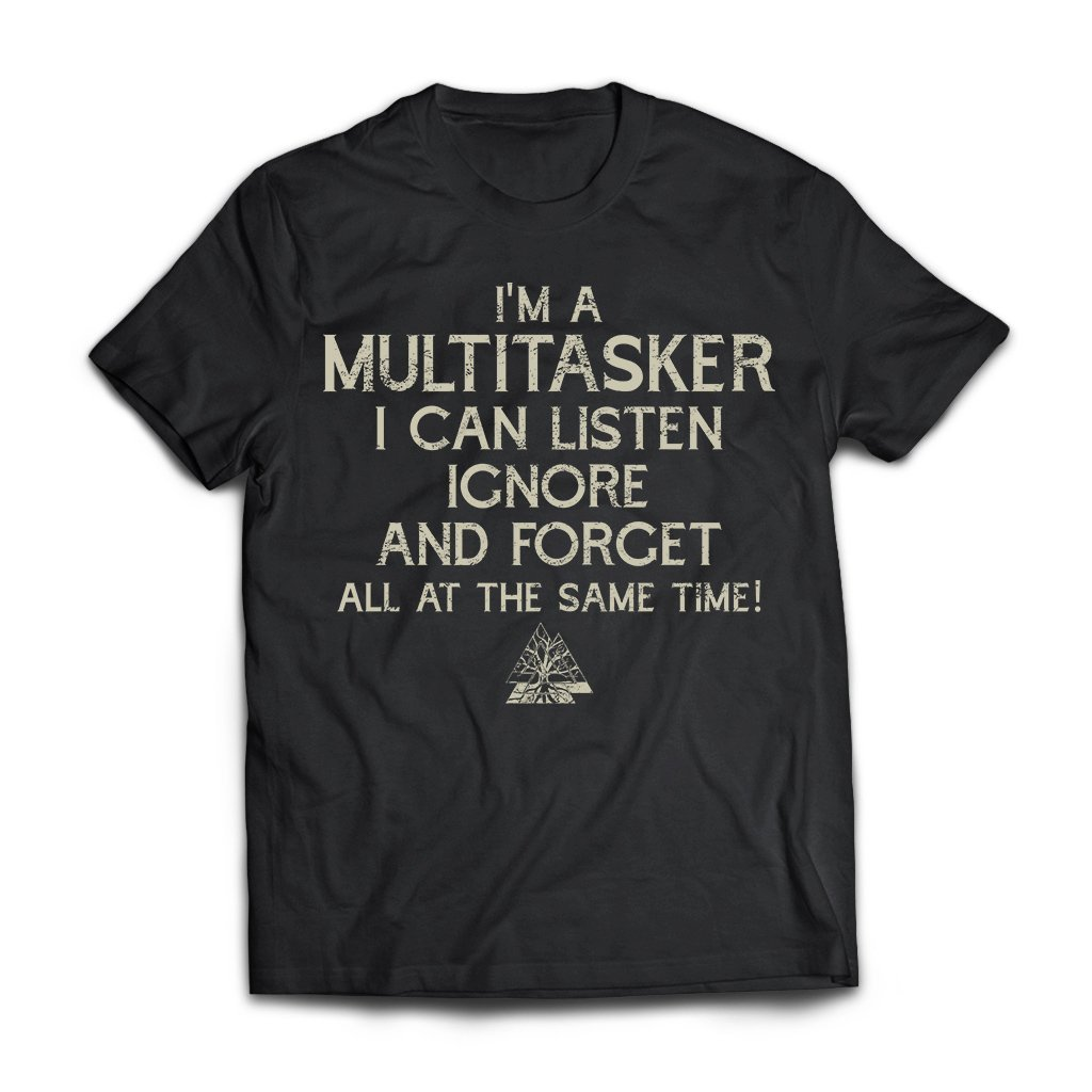 Viking, Norse, Gym t-shirt & apparel, I'm a multitasker, FrontApparel[Heathen By Nature authentic Viking products]Next Level Premium Short Sleeve T-ShirtBlackX-Small