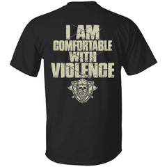 Viking, Norse, Gym t-shirt & apparel, I'm comfortable with violence, double sidedApparel[Heathen By Nature authentic Viking products]