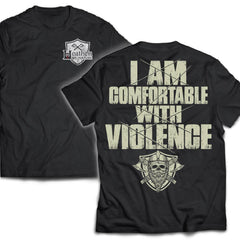 Viking, Norse, Gym t-shirt & apparel, I'm comfortable with violence, double sidedApparel[Heathen By Nature authentic Viking products]Next Level Premium Short Sleeve T-ShirtBlackX-Small