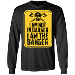 Viking, Norse, Gym t-shirt & apparel, I'm not in danger I'm the danger , frontApparel[Heathen By Nature authentic Viking products]Long-Sleeve Ultra Cotton T-ShirtBlackS