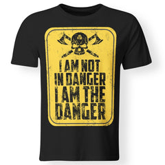 Viking, Norse, Gym t-shirt & apparel, I'm not in danger I'm the danger , frontApparel[Heathen By Nature authentic Viking products]Premium Men T-ShirtBlackS
