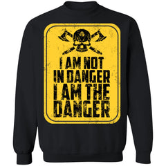 Viking, Norse, Gym t-shirt & apparel, I'm not in danger I'm the danger , frontApparel[Heathen By Nature authentic Viking products]Unisex Crewneck Pullover SweatshirtBlackS