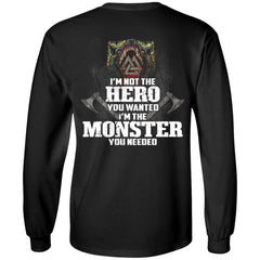 Viking, Norse, Gym t-shirt & apparel, I'm Not The Hero You Wanted, BackApparel[Heathen By Nature authentic Viking products]Long-Sleeve Ultra Cotton T-ShirtBlackS